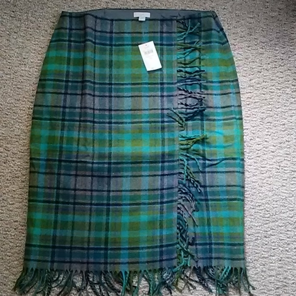 J. Jill Dresses & Skirts - Plaid wool fringed skirt